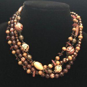 Premier Designs Multi Strand Wood Bead Necklace